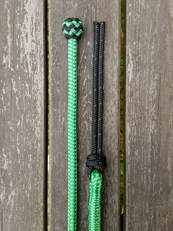 Mecate rein with end knot and rope popper