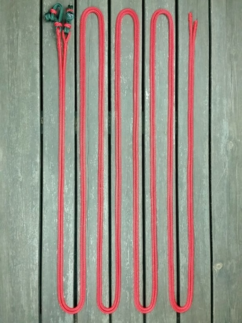 Long split reins with rope connectors  and back splices - 6 mm