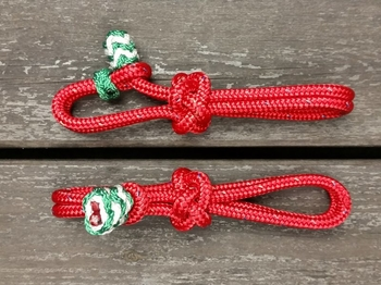 Rope slobber straps with decorative end knots