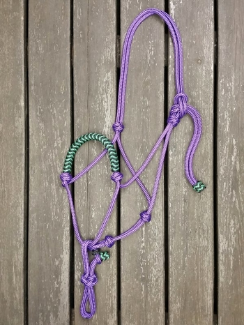 Braided rope halter with running rope connector