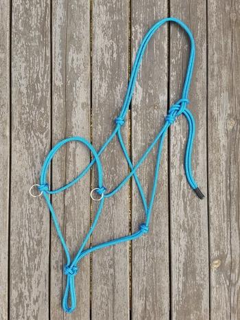 Sidepull rope halter with rings - X-full, Blue