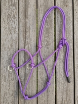 Sidepull rope halter with rings - Pony, Purple