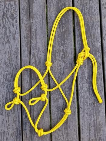 Sidepullrepgrimma med öglor - Ponny, Gul