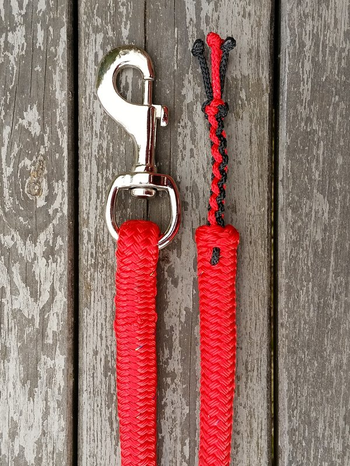 Lead rope with bolt snap and four-strand braid tassel - 14 mm, 3 m, Red