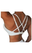 RAW By Adriana Kuhl Athletic Push Up Sports Bra White