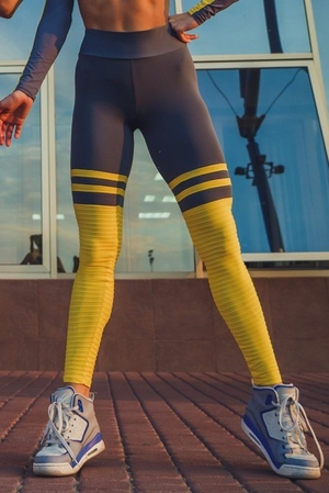 RAW By Adriana Kuhl High Sox Leggings Grey/Yellow