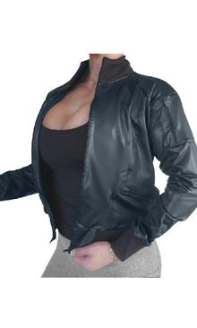 Raw By Adriana Kuhl Bomber Jacket Shiny Black