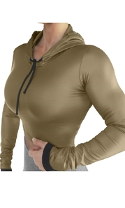 Raw By Adriana Kuhl Crop Hoodie Shiny Army