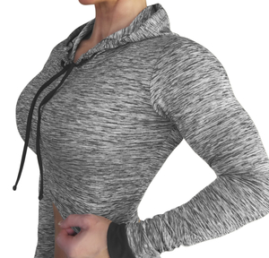 Raw By Adriana Kuhl Crop Hoodie Grey