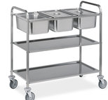 trolley for GN containers with 1 bottom shelf, 3x GN 1/1 h=200 mm