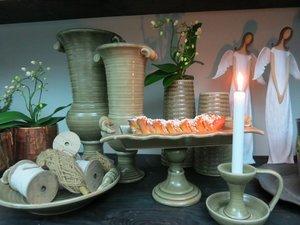 Ljusstake i keramik, potatisfärg, från Ditt&Mitt