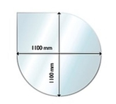Golvglas droppformad 1100x1100