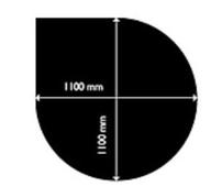 Golvplåt droppformad 1100x1100