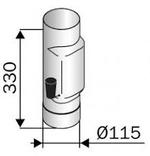 Rökrör 115 mm med spjäll rostfri