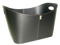 Aduro Baseline wood basket, black artificial leather