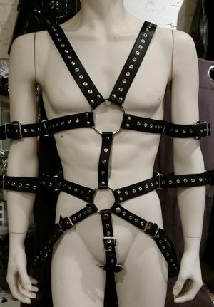 Leather Bondage Body Harness with Eyelets Black