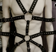 Leather Bondage Body Harness with Eyelets Black