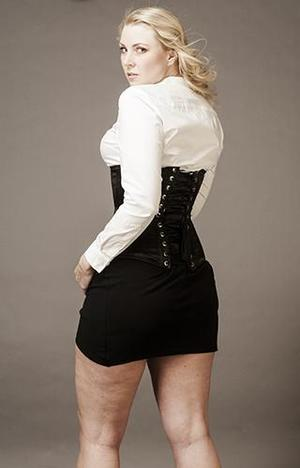 "Underbust Black Satin ""Empress"" (extra long, wider over the hips)"