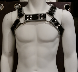 Leather Harness Chest Grey/Black