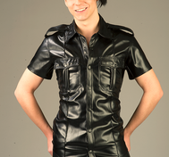 Pilot Shirt with epaulettes in Vegan/PU Leather