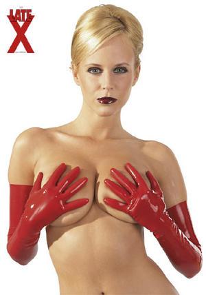 Latex-handskar röd