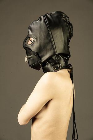 Svart PU lädermask