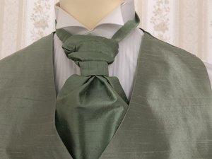 Kravatt och näsduk i siden grön