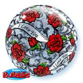 "22"" I Love You Red Rose Filigree bubble balloon"