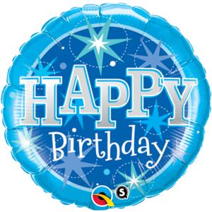 """18"""" Happy Birthday Gnistrande Blå 45 cm"""