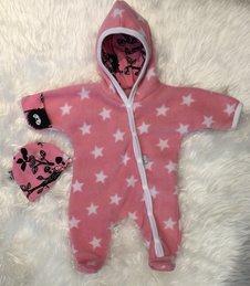 Fleece-overall Stjärnor rosa