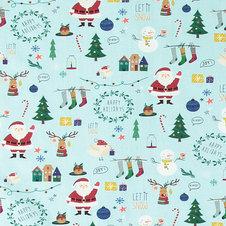 Ljusblå jersey med Jultryck  -  Ekologiskt