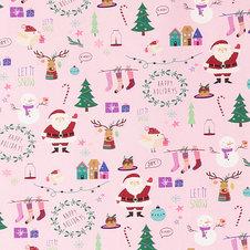 Rosa jersey med Jultryck  -  Ekologiskt
