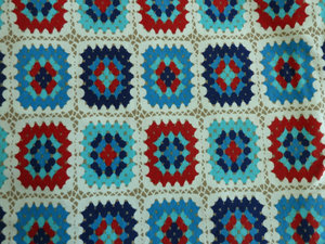 Jersey med tryckta mormorsrutor i blå/röd