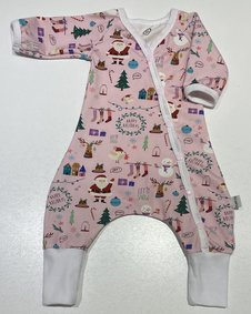 Baggy-dress rosa med jultryck, 50