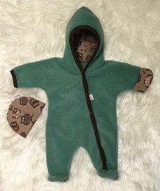 Fleece-overall grön ugglor, stl 44