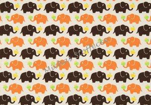 Beige jersey med bruna/orange elefanter