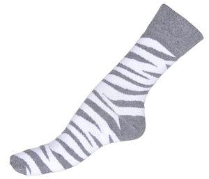 Tiger randigt i grå & vit, sköna herr bomullsstrumpor. 1-pack