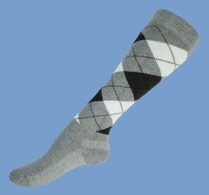 Grey argyle wool knee socks