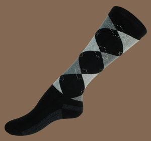 Black and grey argyle wool knee socks