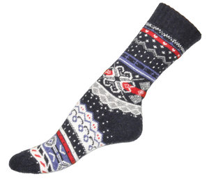 Navy Flower Ullsocka