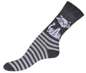 Katt i grå randigt bomullsstrumpor