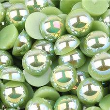 HALVPÄRLA - grön AB 10 mm