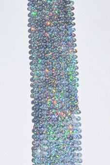 PALJETTBAND - silver 5 cm holo