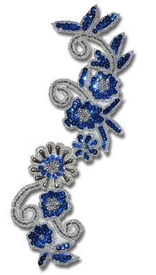 PALJETTBLOMMOR - blå/silver
