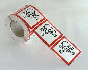 Varningsetikett Giftig GHS 06-10x10 cm