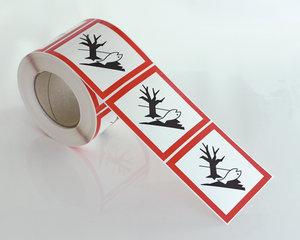 Varningsetikett Miljöfarlig GHS 09-10x10 cm