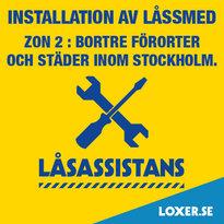 Installation utförd av låssmed, Zon 2, med resetillägg 300 kr