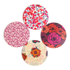 Glasunderlägg Rund 'Floral' Blandpack