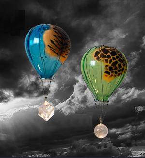 Hot Air Ballon Giraffe Green