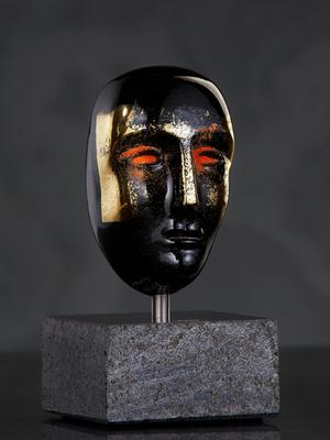 Brains Head Black/Gold - Kosta Boda